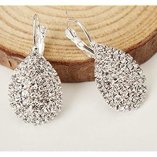 ANKKO 1 Pair Womens Girls Shiny Water Drops Earrings Fashion Cute Crystal Diamond Glittering Stud Earrings