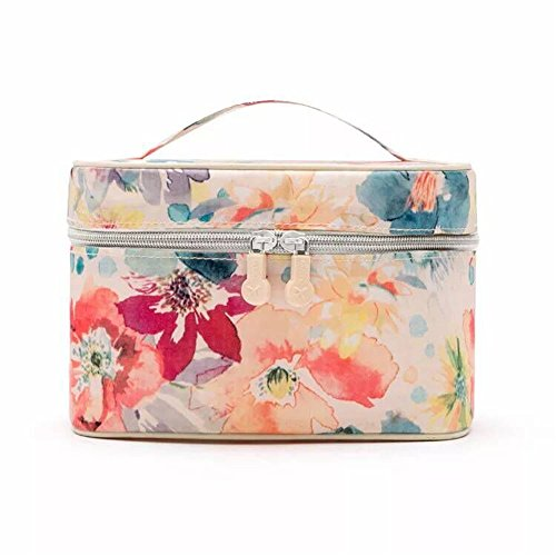 Drucken Kosmetiktasche Multifunktional Wasserdicht Oxford Tuch Handtasche Reisetasche Make-up-Organizer  Kosmetik Tasche für Make-up, Haar-Accessoires, Lotion – Medium Red pink flowers