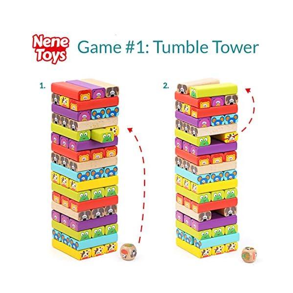 Nene Toys - Torre Magica Colorata in Legno con Animali – Gioco Educativo da Tavolo per Bambini - Gioco Didattico 4 in 1… 3 spesavip