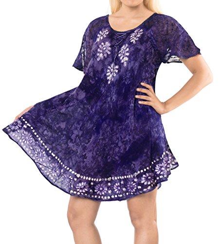 LA LEELA Women Summer Holiday Swing Boho Tank Hippie Tunic Beach Evening Casual Wear Sun Dresses Tie Dye Short Calf Length