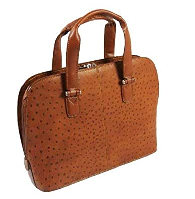 Tony Perotti Ostrich Collection Italian Leather Ladies Handbag TP-00490 Cognac