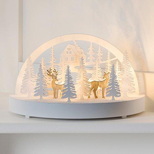 Lights4fun Décoration Rennes et Sapins de Noël Rétroéclairés LED Blanc Chaud à Piles