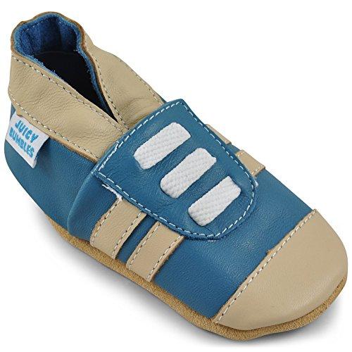 Juicy Bumbles Basket Bebe Fille - Basket Bebe Garcons - Chaussures Bébé Cuir Souple - Tennis Bleues - 12-18 Mois