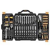 DEKO Set di chiavi a bussola Set di attrezzi di 192 pezzi, kit di attrezzi per strumenti manuali di riparazione auto con scatola di plastica
