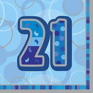 Unique Party- Paquete de 16 servilletas de Papel cumpleaños, Color azul, edad 21 (28459)