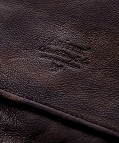 Avirex Uomo Tigerfly Messenger Bag in pelle Marrone Marrone