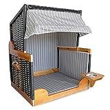 BULTO Hunde-Strandkorb Hundekorb Katzenkorb XL mit schwenkbarem Napf - Anthrazit, gestreift