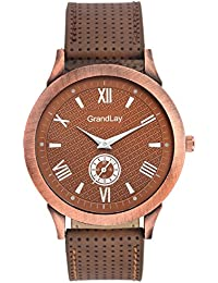 GRANDLAY MG-3070 ROUNDED BROWN DIAL WITH BROWN STRAP WATCH FOR MENZ