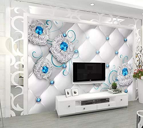 Fototapete 3D Tapete Blaues Diamantschmuck-Blumenleder Tapeten Vliestapete 3D Effekt Wandbild Wanddeko Wandtapete,350x250cm