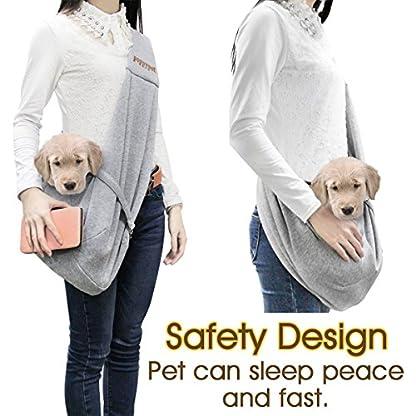 poppypet Pet Sling Carrier, Hands-free Sling Pet Dog Cat Carrier Rabbit Bag Comfortable Shoulder Bag, Double-sided Pouch… 3
