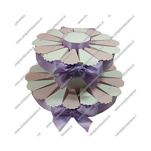 Struttura torta bomboniera 32 fette bicolore portaconfetti fai da te confezione (1)