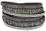 Mevina Damen Strass Armband Wickelarmband Armschmuck mit echten Kristallen in viele Farben Anthrazit A1133