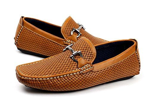 UOMO SLIP ON STILISTA ITALIANO Mocassini Driving scarpe casual PONTE DELLA BARCA ALLA MODA MOCASSINI Marroncino