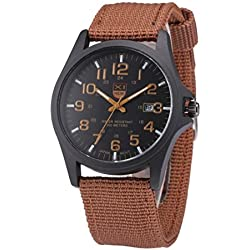 Man Wrist Watch - Kingwo Outdoor Mens Canvas Watch Date Stainless Steel Military Sports Analog Quartz Army Vintage Wrist Watch(Brown )