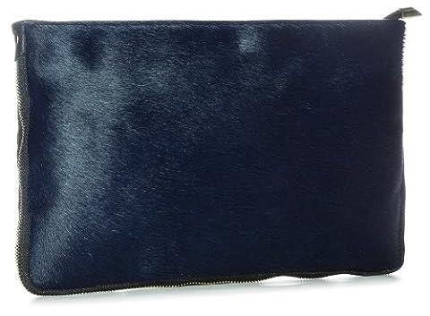 Big Handbag Shop Large Genuine Leather with Calf Fur Zip Clutch Shoulder Bag (Navy)