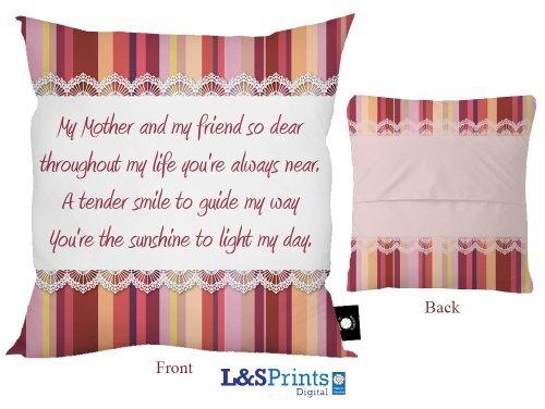 L&S PRINTS FOAM DESIGNS Mütter Tag Gedicht Design Kissen 45,7x 45,7cm ideal Geschenk Neuheit Made in Yorkshire