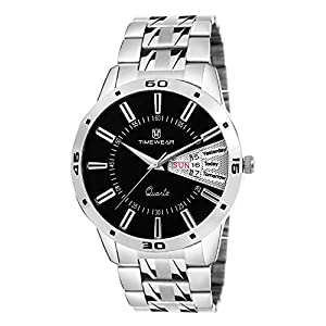 Timewear Analog Black Dial Day and Date Watch for Men