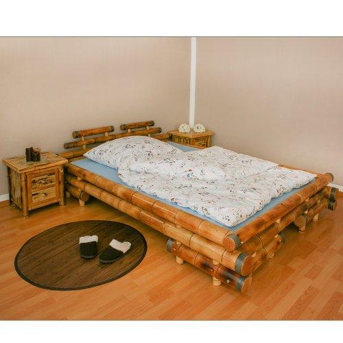 Homestyle4u 1054, Bambusbett 160×200 cm, Bettgestell mit Lattenrost, Bambus Braun