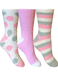 Women's Fluffy Stripes & Polka Dot Co-Zee Thermal Socks (3 Pair Pack)