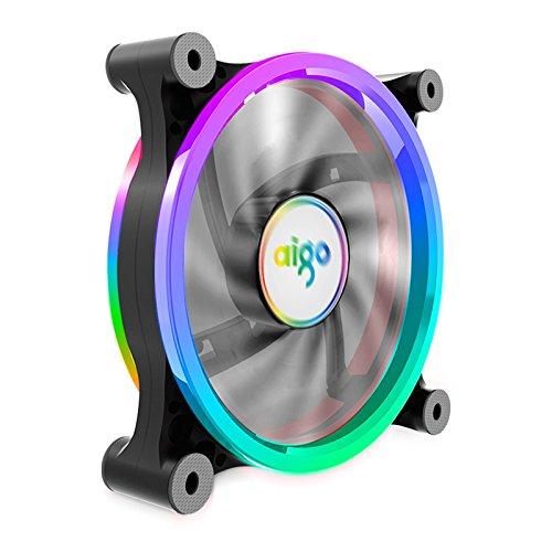 Aigo Computer PC Gehäuse Lüfter Kühler, RGB LED 120mm Leise hoher Luftstrom Farbe Einstellbar, CPU Kühler und Radiator unterstützt Intel AMD DIY MOD AM4 Rrzen (1-Pack)