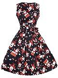 DYLH Weihnachten Kleid Damen Rockabilly Kleid Festlich Partykleid Cocktailkleid Ärmellos Weihnachtsmann Druck XLarge