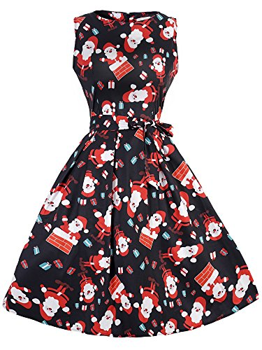 eid Damen Rockabilly Kleid Festlich Partykleid Cocktailkleid Ärmellos Weihnachtsmann Druck Large (Frauen Weihnachten Kostüme)