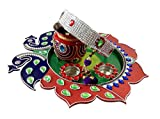 Unique Arts Beautiful decorated Multicolor Peacock wooden Karwa Chauth Puja Thali Set