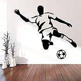 BFMBCH Football Boy Wall Art Applique Art para niños Habitación Dormitorio Sala de estar Sofá Fondo Decorativo Etiqueta de la pared Dormitorio infantil Etiqueta de la pared Café XL 58cm X 67cm