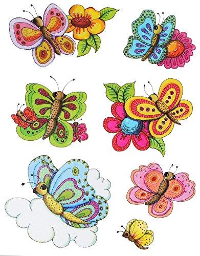 alles-meine.de GmbH 7 TLG. Set _ Fensterbilder -  Schmetterlinge & Blumen  - statisch haftend - selbstklebend + wiederverwendbar / Ostern & Frühling / Sommer - Sticker Fensters..