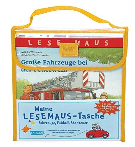 Meine Lesemaus-Tasche – Fahrzeuge, Fußball, Abenteuer: Kindertasche mit 4 Lesemaus-Büchern und Stickerbogen - Stiftung Tasche