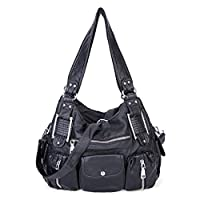 Leather Cross Body Washed Soft Cross Body Tote Handbag Large Capacity Bags for Women Ladies Girls (Black1)
