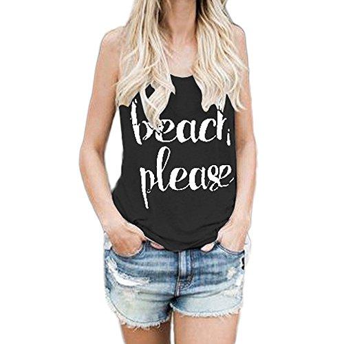 PorLous2019 Damen Trend Shirt Weste Gedruckt Brief ärmellose Weste Top T-Shirt Mode Zuhause Freizeit Damenbekleidung