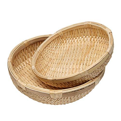 SGHTYJ Ablagekorb Wicker Weaving Ablagekorb 2-teiliges Set Große Größe 30,5 * 8 cm Kleine Größe 26,5 * 7 cm -