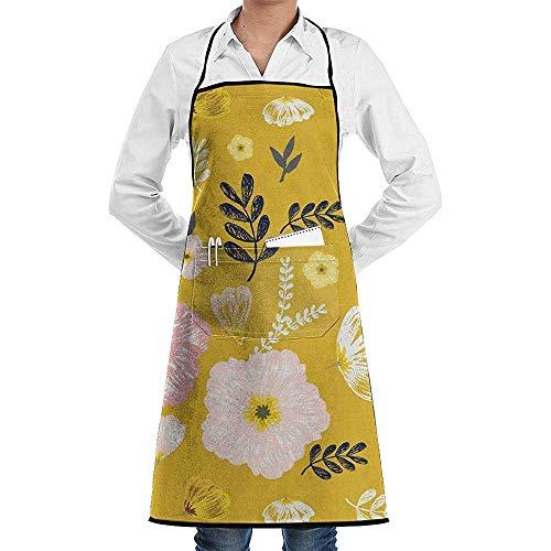 Reredith Monarch Mustard Yellow Kitchen Chef Schürze, Männer und Frauen Latzschürze Nette Schürze zum Kochen, Backen, Basteln, Gärtnern, Grill -