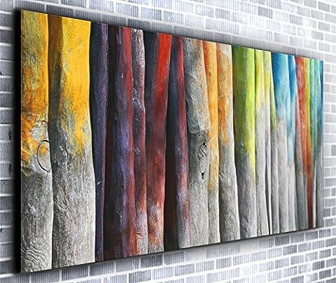 Rainbow arbres panoramique encadrée Impression sur toile Art mural XXL 139,7x 61cm de plus de 1,4m de large x 0,6m haute prête à suspendre Impression sur toile–Paysage Photographie–Art moderne