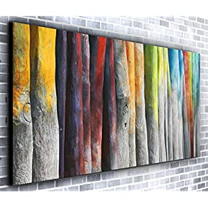 Rainbow Trees Panoramic Canvas Wall Art Print Framed XXL 55 inch x 24 inch