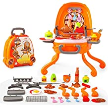 Juegos de simulación de juguetes para niños pequeñ Juego de simulación Ice Cream Pizza BBQ Hamburguesa Comida BBQ Hot Dog Peces Carro Carrito Cocina Juego ...