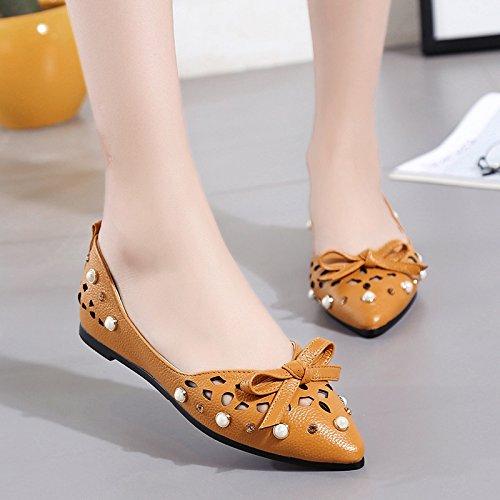XY&GKFrauen mit flachem Boden Schuh flach Atmungsaktiv Komfortabel flache Schuhe 35 light brown