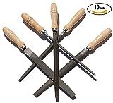 ACCOCO 250 mm High Carbon Steel file lima, set di lime, con manici in legno per metallo, legno, plastica, 5 pezzi
