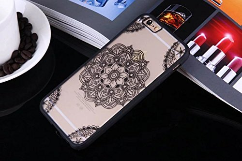 iPhone Case Cover Mandala Flowers Printed Design Schütz PC harte rückseitige Abdeckung Case + TPU Bumper für iPhone SE 5S 6 6S plus ( Color : Black , Size : IPhone 6S Plus ) Black