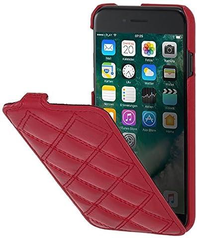 StilGut UltraSlim, housse iPhone 8 Plus & iPhone 7 Plus en cuir. Etui de protection à ouverture verticale et fermeture clipsée en cuir véritable, Rouge nappa - collection Carat