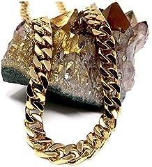 Idea Regalo - Collana a catena cubana in oro 14 ct, da uomo, 9 mm, 14 carati, taglio a diamante, con chiusura solida e spessa e 14ct metallo con base placcato oro, cod. NA