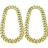 2 Piezas de Cadena de Hip Hop Dorado 32 Pulgadas de Cadena Chunky para Hombres, Collar de Cadena de Oro Falso para Disfraz Rapero Estilo de Punk (Collar Chunky)