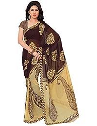 Triveni Sarees For Women Faux Georgette Saree (TSAND977A_Brown)
