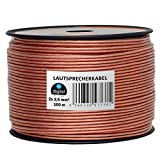 HB-Digital Lautsprecherkabel 2 x 2,5mm² x 100m CCA-Innenleiter PVC- Dielektrikum (transparent) Speaker Cable