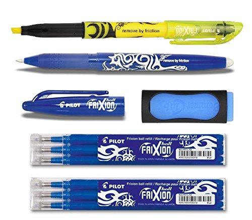 1 Frixion Ball blau + 6er-Set Mine + Radierer + Textmarker gelb (+ extra Radierer | 6 Minen, Blau | gelb)