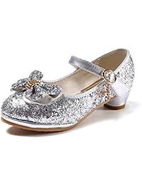8c203bdb3 anbiwangluo Zapatos de Lentejuelas de Niña Zapatos de Tacón Alto de  Princesa Zapatos de Fiesta de