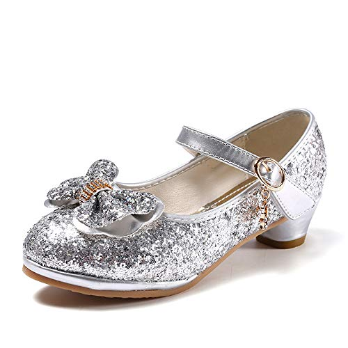 anbiwangluo Zapatos de Lentejuelas de Niña Zapatos de Tacón Alto de Princesa Zapatos de Fiesta de Niños 29 EU/Tamaño de la Etiqueta 30 Plata