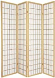 TOKYO Natural Handmade Wood and Paper 4 Pane Room Divider / Splitter Screen