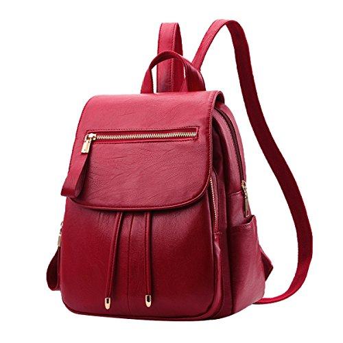 Rucksäcke Frauen PU Leder Rucksack Schultasche Daypack Bookbag,Red-M
